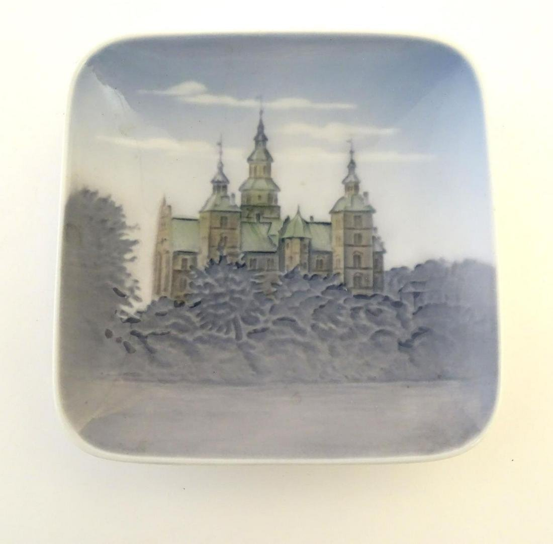 A Royal Copenhagen square pin dish depicting Rosenborg