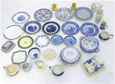 A large quantity of assorted blue and white ceramic