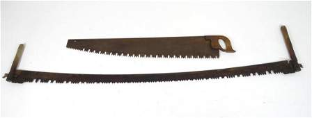 Two late 19th  early 20thC crosscut saws oneman and