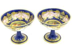 A pair of Royal Worcester sweetmeat / bonbon dishes