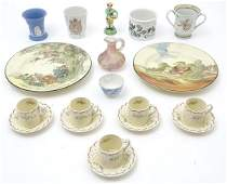 A quantity of assorted ceramic wares to include four