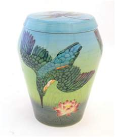 A limited edition Dennis China Works lidded vase with