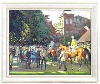 20th century, English School, Oil on canvas, Old Ascot,