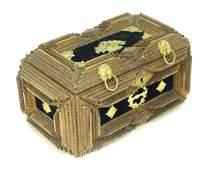 A 19th / 20thC tramp / folk art box with applied velvet
