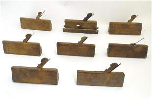 A collection of beech rebate planes, including examples