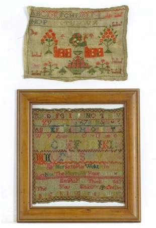 A 18thC needlework sampler decorated with the lines of