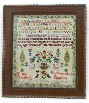 A 19thC needlework sampler decorated with the lines of