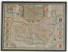 Map: A hand coloured map of Suffolk by John Speed