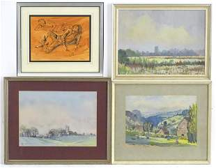 Tom Askwith, 20th century, Two watercolours, A view of