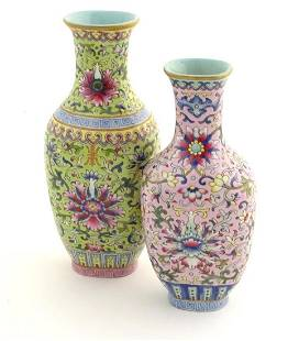A Chinese famille rose double vase, joined at the