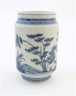 A Chinese blue and white vase of cylindrical form with