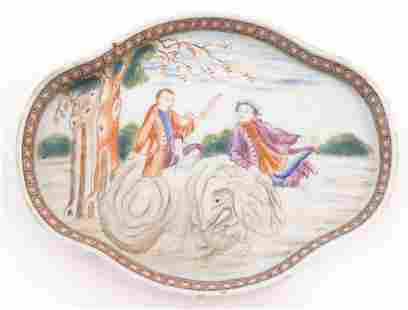 A Chinese export dish of quatrefoil form depicting a