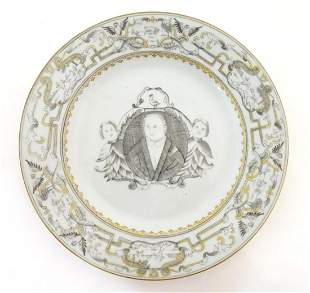A Chinese export plate depicting a grisaille portrait