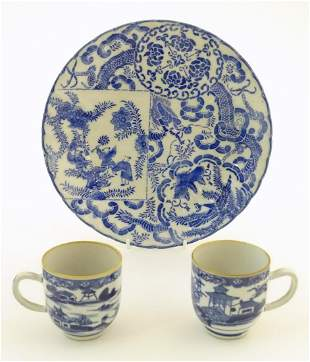 An Oriental blue and white plate decorated with figures