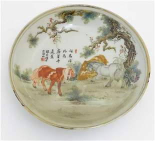 A small Chinese famille rose dish, decorated with three
