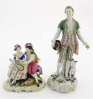 Two German porcelain figures, a model of a young man