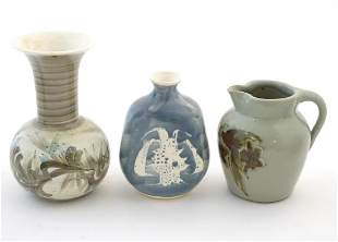 Three studio pottery items comprising a small jug by