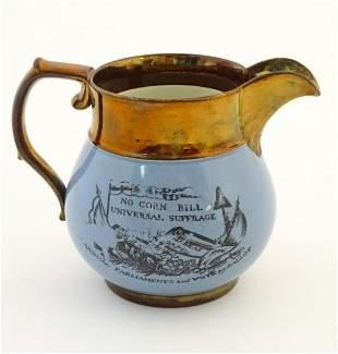 A 19thC jug commemorating Peterloo, the bulbous body