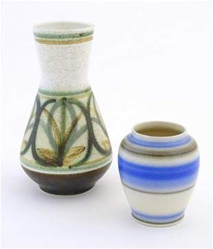 Two vases comprising a Poole Pottery vase with blue