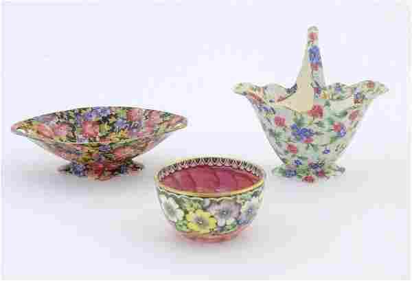 Three ceramic items comprising a Royal Winton basket in