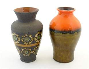 Two West German vases, one with banded floral motifs,