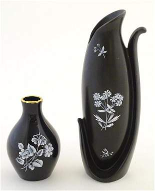 A Wade vase with floral detail, together with a