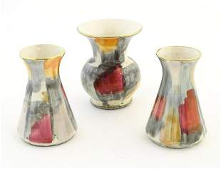 Three West German vases, one with a bulbous body and