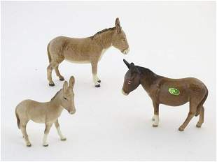 Three Beswick donkeys comprising model numbers 1364A,
