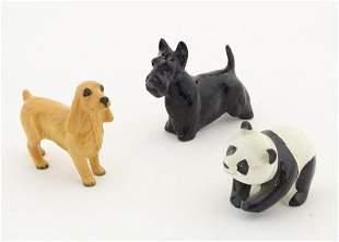 Three Beswick animals comprising a Scottie dog, model
