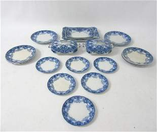 A quantity of Ford & Sons Burslem Flow Blue and white