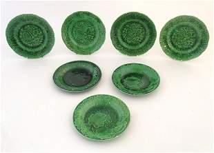 Seven Wedgwood style majolica leaf plates. Largest