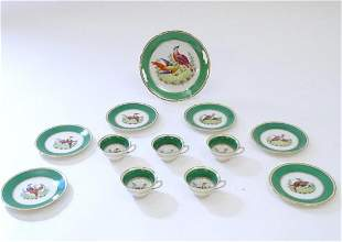 A quantity of Booths style tea wares with green borders