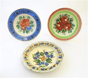 Three 19thC earthenware dishes with floral and foliate