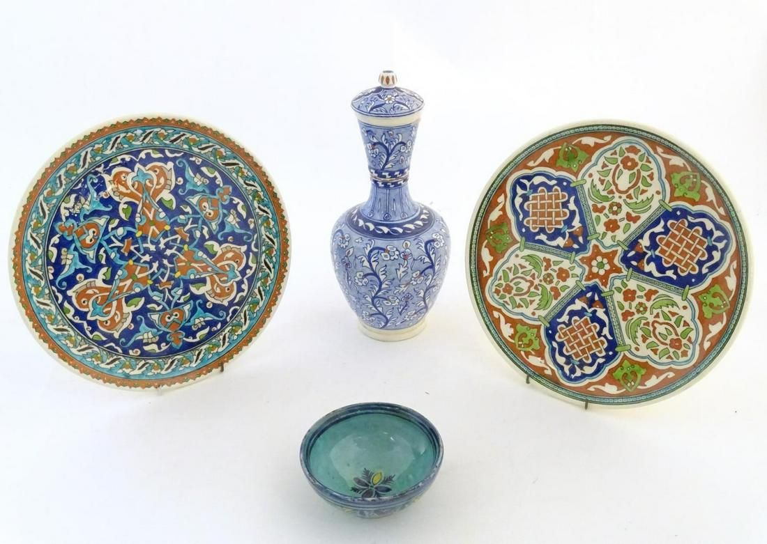 Three items of Turkish pottery, comprising a vase and