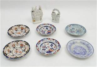 Six 19thC stoneware dishes to include examples by