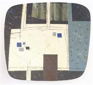 A Bernard Irwin studio pottery dish with cubist /