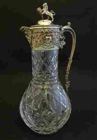 A Victorian claret jug, decorated with diamond and star