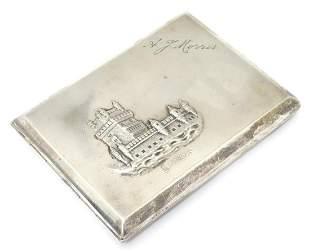 A mid 20thC Portuguese silver cigarette case with image