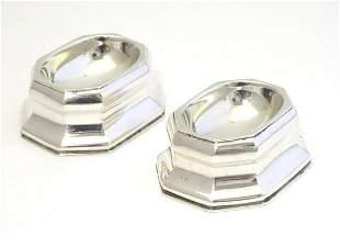 A pair of Britannia standard silver trencher salts,