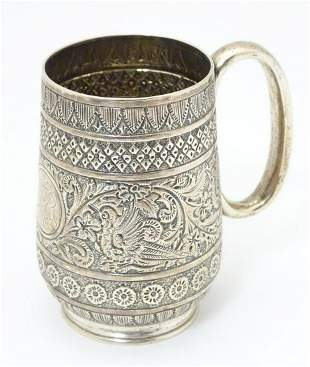 A Victorian silver christening mug with banded