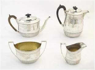 A Victorian Scottish 4-piece silver teaset comprising