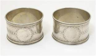Two Victorian silver napkin rings, hallmarked