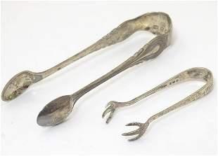 Silver sugar tongs, one hallmarked Birmingham 1899,