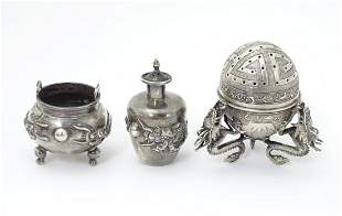 Chinese export silver: A white metal salt formed as a