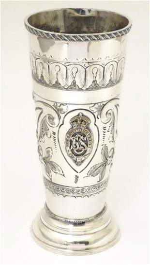 Dog Show Interest : A silver plate trophy vase with