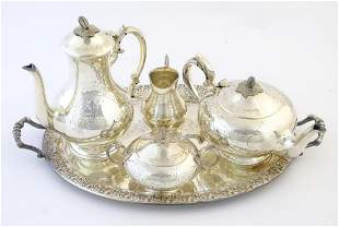 A Silver plated four piece tea and coffee set with