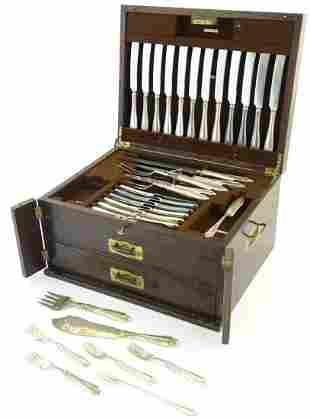 An oak cased part set / canteen of silver plate cutlery