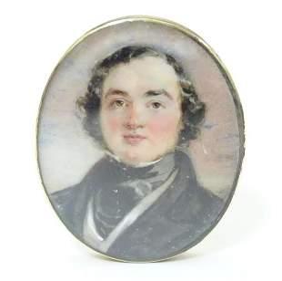 A 19thC watercolour portrait miniature depicting a