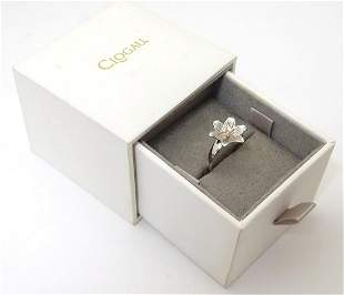 A Welsh silver Clogau ring with central diamond set in