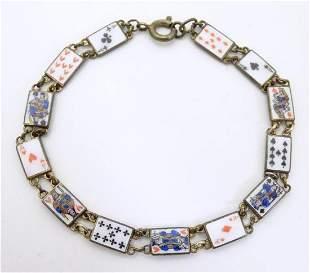 A vintage gilt metal bracelet, the links with enamel